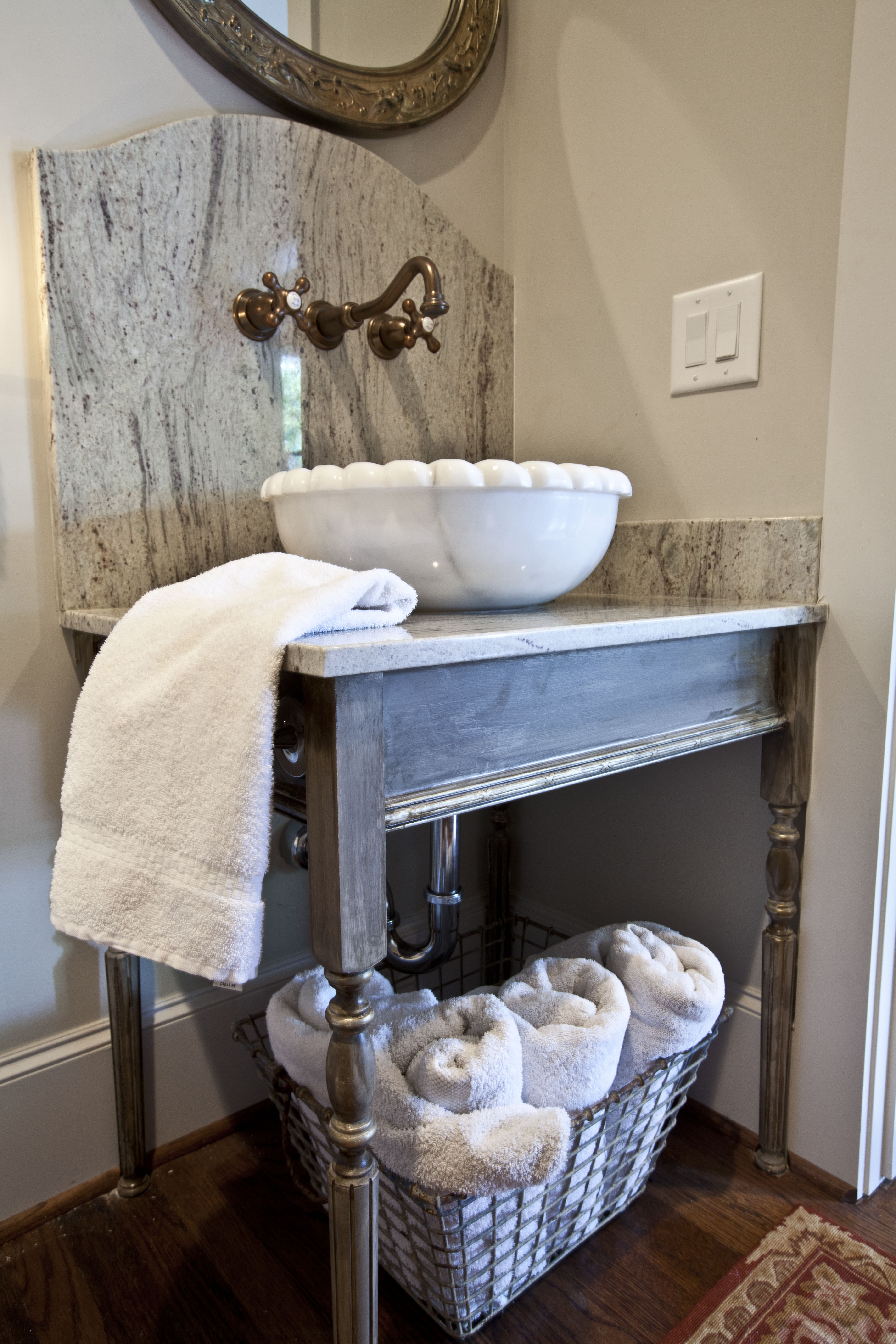 French country home tour parade of homes at the picket for Powder room vanity sink