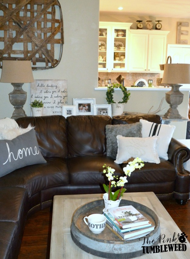 The scoop 154 cedar hill farmhouse for Chocolate brown couch living room ideas